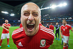LILLE, FRANCE - Friday, July 1, 2016: Wales' David Cotterill celebrates a 3-1 victory over Belgium and reaching the Semi-Final during the UEFA Euro 2016 Championship Quarter-Final match at the Stade Pierre Mauroy. (Pic by David Rawcliffe/Propaganda)