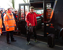 WEST BROMWICH, ENGLAND - Sunday, February 2, 2014: Liverpool's Jordan Ibe steps off the team coach as the squad arrive at The Hawthorns ahead of the Premiership match against West Bromwich Albion at the Hawthorns. (Pic by David Rawcliffe/Propaganda)