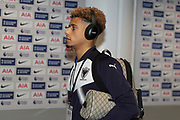 AFC Wimbledon striker Lyle Taylor (33) arriving during the The FA Cup 3rd round match between Tottenham Hotspur and AFC Wimbledon at Wembley Stadium, London, England on 7 January 2018. Photo by Matthew Redman.
