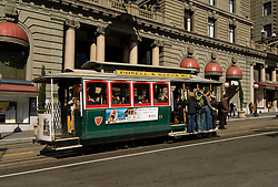 California, San Francisco: Cable Car transportation. St. Francis Hotel, Union Square. Photo 4-casanf79257. Photo copyright Lee Foster.