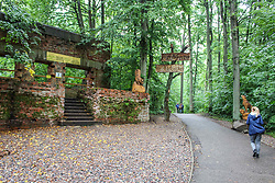 September 2, 2017 - Gierloz, Poland - People walking at the Wolf's Lair remains are seen on 2 September 2017  in Gierloz , Poland. Wolf's Lair (ger. Wolfsschanze) ruins of Adolf Hilter's war headquarters is It's a hidden town in the woods consisting of 200 buildings: shelters, barracks, 2 airports, a power station, a railway station, air-conditioners, water supplies, heat-generating plants and two teleprinters. (Credit Image: © Michal Fludra/NurPhoto via ZUMA Press)