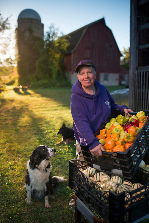 Tricia Bross gather vegetables on her Luna Circle Farm near Rio, Wisconsin. Tricia has been a farmer for more than 20 years, and has been a mentor to many market-garden farmers in the upper midwest.