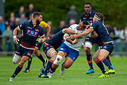 Anthony Perenise of Bath Rugby is tackled during the Rugby Friendly match between Edinburgh Rugby and Bath Rugby at Meggetland Sports Complex, Edinburgh, Scotland on 17 August 2018.