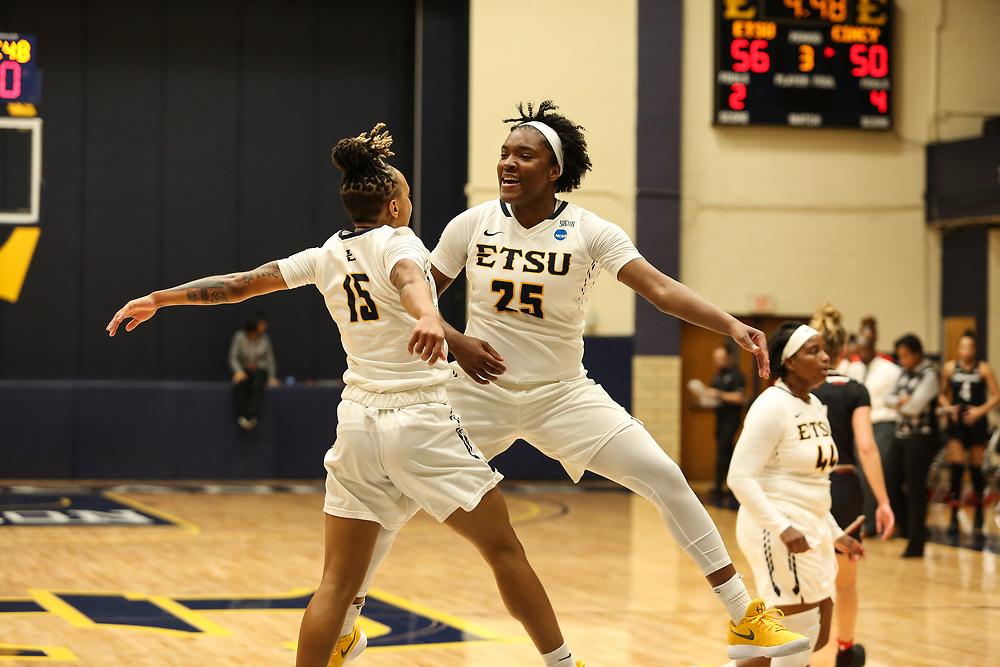 November 10, 2017 - Johnson City, Tennessee - Brooks Gym: ETSU guard Tianna Tarter (15), ETSU guard Alayjah Sherer (25)<br /> <br /> Image Credit: Dakota Hamilton/ETSU