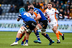 Francois Venter of Worcester Warriors is tackled - Mandatory by-line: Robbie Stephenson/JMP - 15/02/2020 - RUGBY - Sixways Stadium - Worcester, England - Worcester Warriors v Bath Rugby - Gallagher Premiership Rugby
