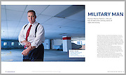 Magazine tear sheet layout of a feature article on a Dallas Texas Attorney. Commercial portrait, editorial and advertising photography for business. Law firm brand visual marketing through editorial images.