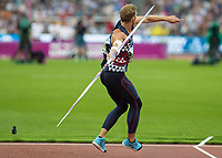 Athletics - 2017 IAAF London World Athletics Championships - Day Nine, Evening Session<br /> <br /> Mens Decathlon - Javelin<br /> <br /> Kevin Mayer (France)  launches the javelin at the London Stadium<br /> <br /> COLORSPORT/DANIEL BEARHAM