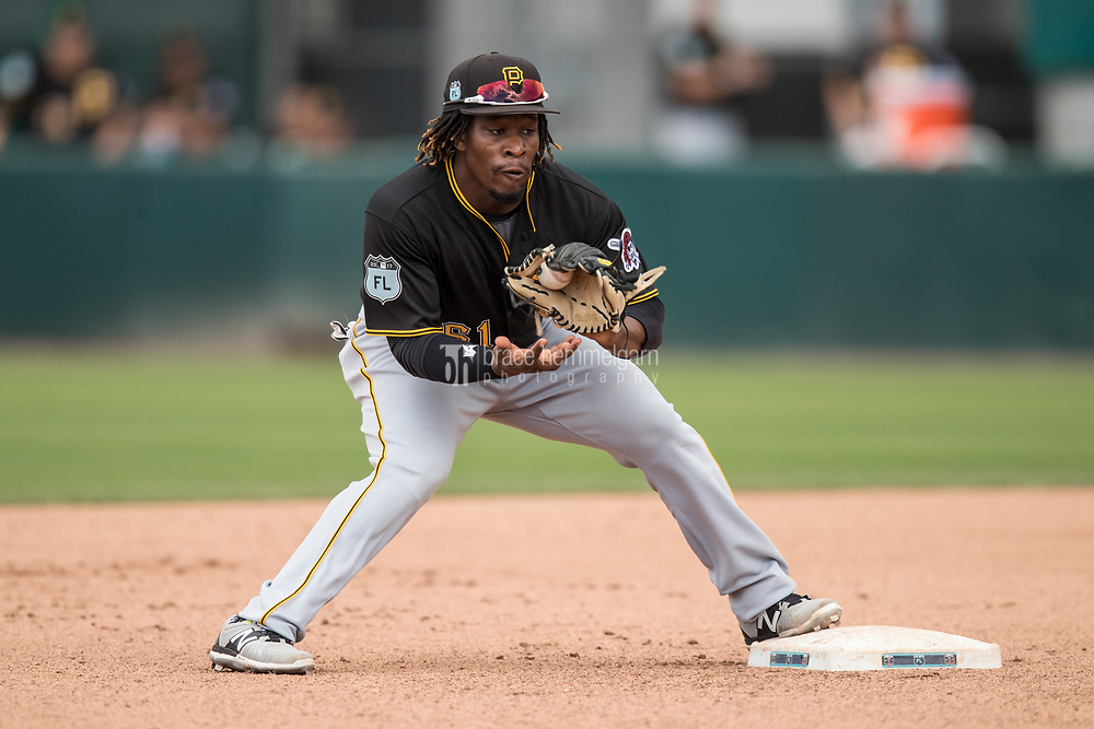 FORT MYERS, FL- MARCH 01: Gift Ngoepe #61 of the Pittsburgh Pirates fields against the Minnesota Twins on March 1, 2017 at the CenturyLink Sports Complex in Fort Myers, Florida. (Photo by Brace Hemmelgarn) *** Local Caption *** Gift Ngoepe
