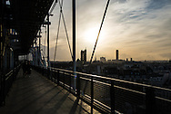 France. Paris elevated view on Paris cityscape , Beaubourg museum,  Saint Jacques tower and historical center,