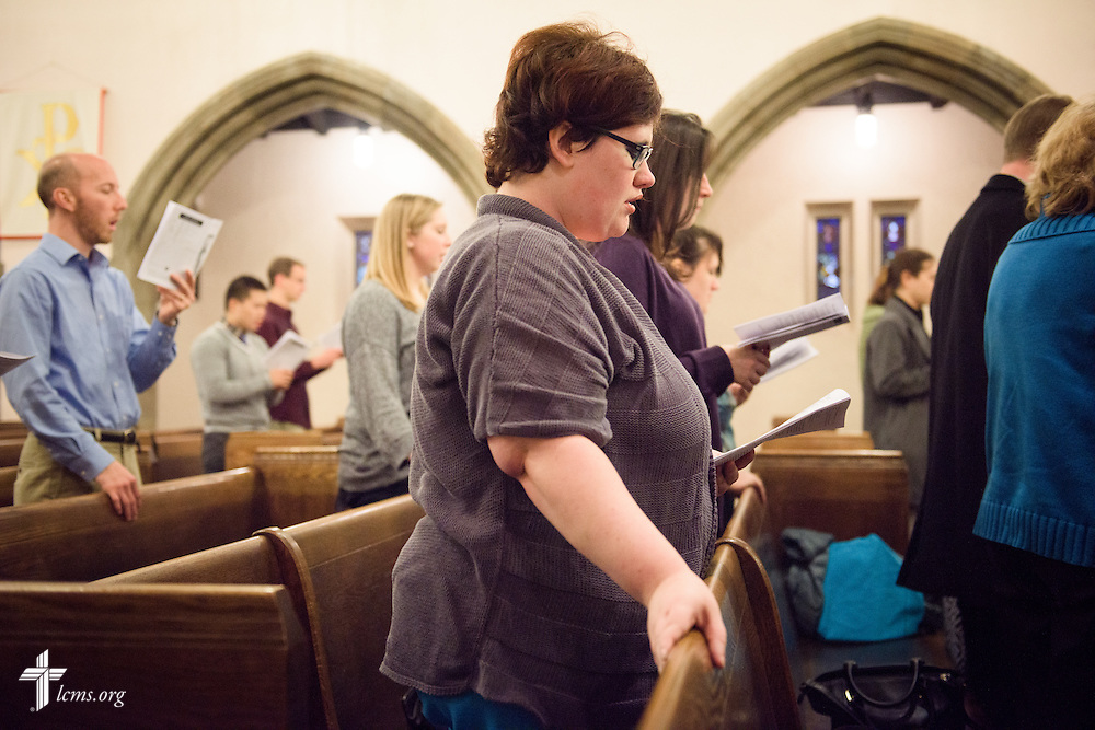 Lyndsey Seibel worships at First Trinity Evangelical–Lutheran Church on Sunday, Nov. 20, 2016, in Pittsburgh. LCMS Communications/Erik M. Lunsford