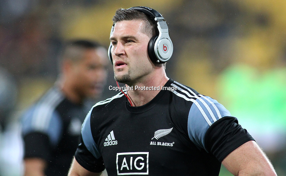 All Blacks' Cory Jane warms up in the rain. New Zealand All Blacks V South Africa.The Rugby Championship. Rugby Union Test Match. Westpac Stadium, Wellington. 13 September 2014. Photo.: Grant Down / www.photosport.co.nz