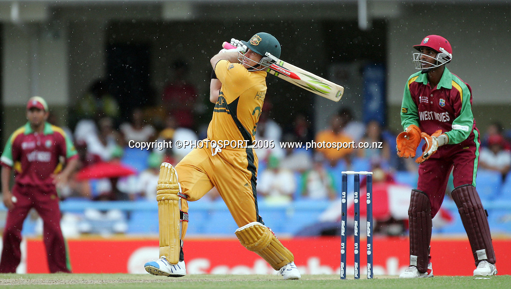 Australian batsman Matthew Hayden hits out during his innings of 158 at the Super 8 Cricket World Cup match, West Indies vs Australia at the Sir Vivian Richards Cricket Ground in Antigua, West Indies on Tuesday 27 March 2007. Australia batted first and scored 322 for 6. Photo: Andrew Cornaga/PHOTOSPORT<br /><br /><br />270307