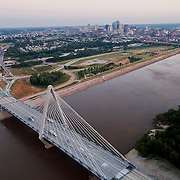 Aerial photo of the Kit Bond Bridge over the Missouri River in Kansas City, Missouri.