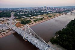 Aerial photo of the Kit Bond Bridge over the Missouri River in Kansas City, Missouri.