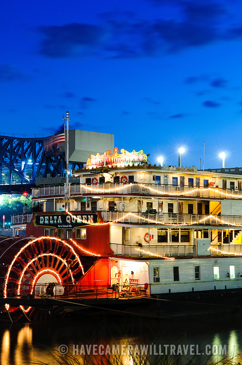 Dusk shot of the paddle-wheel riverboat Delta Queen in Chattanooga, Tennessee.