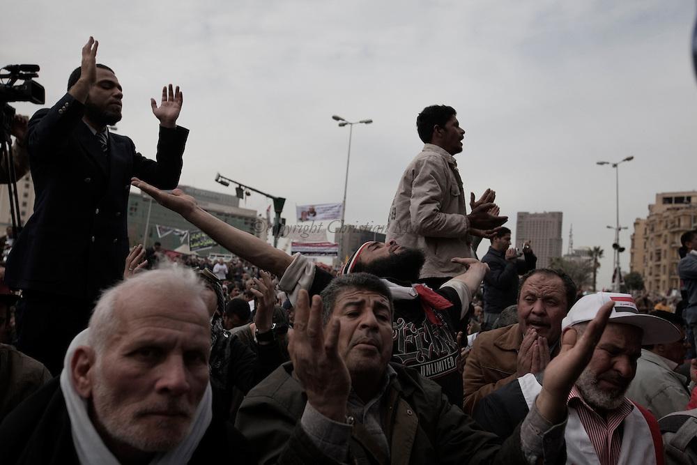 EGYPT, Cairo : Friday pray in Cairo, Egypt, Sunday, Feb. 5, 2012.