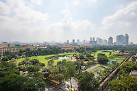 View of golf course and city skyline; Manila; Philippines
