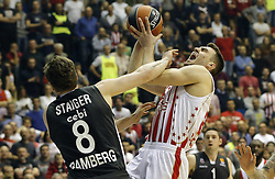 BELGRADE, March 3, 2017  Crvena Zvezda's Marko Guduric (R) is fouled by Brose Bamberg's Lucca Staiger (L) during Regular Season Round 24 Euroleague basketball match between Crvena Zvezda and Brose Bamberg in Belgrade, Serbia on March 2, 2017. Crvena Zvezda won 74-60. (Credit Image: © Predrag Milosavljevic/Xinhua via ZUMA Wire)