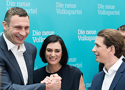 "01.07.2017, Design Center, Linz, AUT, ÖVP, 38. ordentlicher Bundesparteitag, mit Wahl von Bundesminister Kurz zum neuen Bundesparteiobmann, unter dem Motto ""Zeit für Neues - Zusammen neue Wege gehen"". im Bild v.l.n.r. Boxer und Bürgermeister von Kiew Vitali Klitschko, ÖVP-Generalsekretärin Elisabeth Köstinger und Außenminister und designierter ÖVP-Chef Sebastian Kurz // f.l.t.r. Boxer and Mayor of Kiew Vitali Klitschko, Secretary General of the Austrian Peoples Party Elisabeth Koestinger and Austrian Foreign Minister Sebastian Kurz during political convention of the Austrian People' s Party with election of Sebastian Kurz as the new party leader at Design Centre in Linz, Austria on 2017/07/01. EXPA Pictures © 2017, PhotoCredit: EXPA/ Michael Gruber"