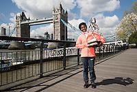 Virgin Money London Marathon 2015<br /> <br /> Winners Photocall<br /> <br /> Left to Right<br />  Tigist Tufa Ethiopia Women Winner<br /> <br /> Posing with the Sporting Life Marathon Trophy<br /> <br /> Photo: Bob Martin for Virgin Money London Marathon<br /> <br /> This photograph is supplied free to use by London Marathon/Virgin Money.