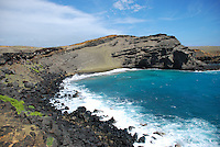 Green Sand beach, Hawaii.  Rocky shoreline and rough seas