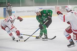 Chvatal Aljaz of HK Olimpija and Kernberger Michael of EC Kac II during Ice Hockey match between HK SZ Olimpija and EC KAC II during 1st round of Alps Hockey League 2019/20, on September 14, 2019, in Hala Tivoli, Ljubljana, Slovenia. Photo by Grega Valancic