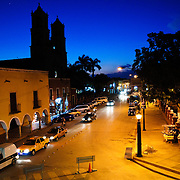 Street scene taken from balcony of City Hall in downtown Valladolid, Yucatan, Mexico