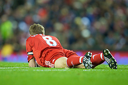 LIVERPOOL, ENGLAND - Monday, December 1, 2008: Liverpool's captain Steven Gerrard MBE lies dejected after missing a chance against West Ham United during the Premiership match at Anfield. (Photo by David Rawcliffe/Propaganda)