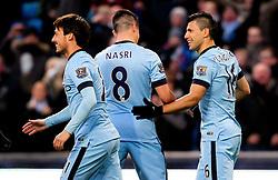 Manchester City's Sergio Aguero celebrates after scoring the opening goal  - Photo mandatory by-line: Matt McNulty/JMP - Mobile: 07966 386802 - 21/02/2015 - SPORT - Football - Manchester - Etihad Stadium - Manchester City v Newcastle United - Barclays Premier League