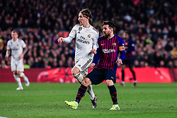 February 6, 2019 - Barcelona, BARCELONA, Spain - 10 Leo Messi of FC Barcelona defended by 10 Modric of Real Madrid during the semi-final first leg of Spanish King Cup / Copa del Rey football match between FC Barcelona and Real Madrid on 04 of February of 2019 at Camp Nou stadium in Barcelona, Spain (Credit Image: © AFP7 via ZUMA Wire)