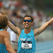 HULING - 13USA, Des Moines, Ia. - Daniel Huling extended his arms to congratulate steeplechase winner Evan Jager.  Huling finished second.  Photo by David Peterson