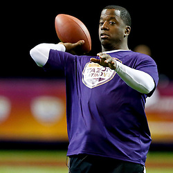 Jan 31, 2013; New Orleans, LA, USA; NFC squad Kordell Stewart throws a pass during the Tazon Latino VII flag football game at Clinic Field  inside the Ernest Morial Convention center against the AFC squad. Super Bowl XLVII will take place between the San Francisco 49ers and the Baltimore Ravens on February 3, 2013 at the Mercedes-Benz Superdome.  Mandatory Credit: Derick E. Hingle-USA TODAY Sports
