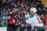 KELOWNA, CANADA - FEBRUARY 18: Josh Anderson #28 of the Prince George Cougars gets in the face of Dillon Dube #19 of the Kelowna Rockets on February 18, 2017 at Prospera Place in Kelowna, British Columbia, Canada.  (Photo by Marissa Baecker/Shoot the Breeze)  *** Local Caption ***