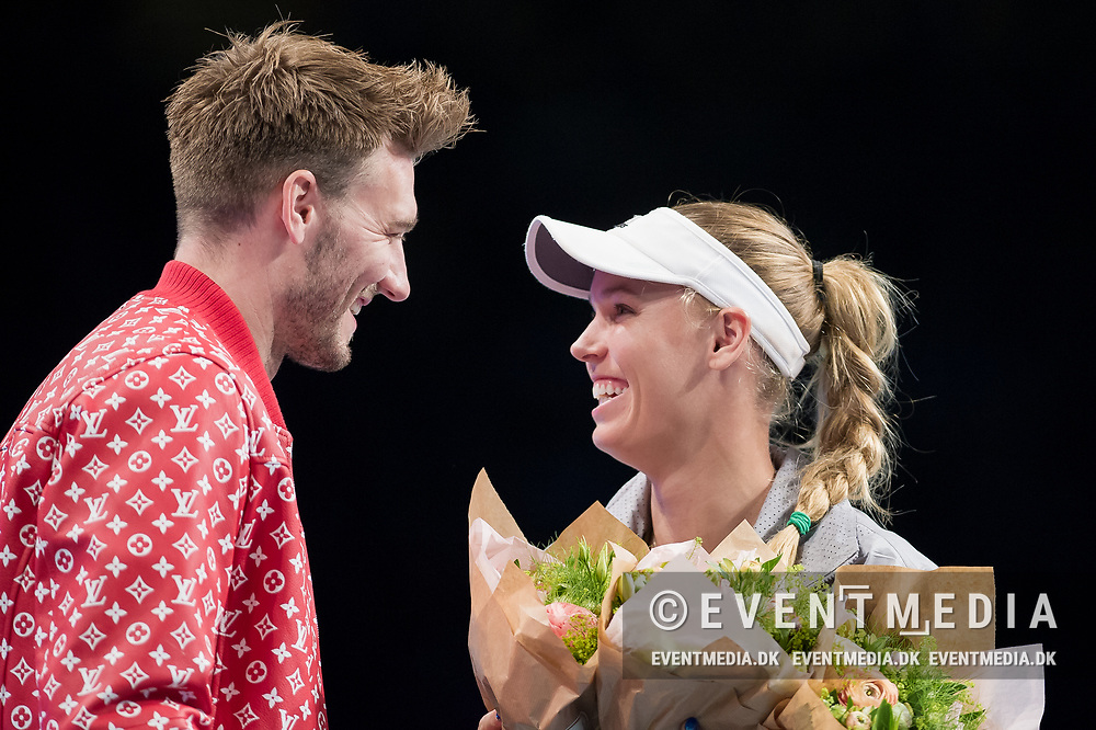 Nicklas Bendtner and Caroline Wozniacki at the 2018 Champions Battle at Parken, Copenhagen, Denmark, 30-04-2018. Photo Credit: Katja Boll/EVENTMEDIA.