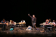"""Michael Gordon, center, a student at School of the Arts in Rochester, performs in """"Percentage,"""" a student-written play about bullying, on Tuesday, February 2, 2016."""