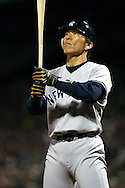 New York Yankee's Machine, Hideki Matsui, goes through his batting ritual during the 2004 ALCS, Fenway Park, Boston MA. 2004 Boston Red Sox, make a run at history getting through a tough fight with the New York Yankees and then eventually sweeping the St. Louis Cardinals for the World Series title.