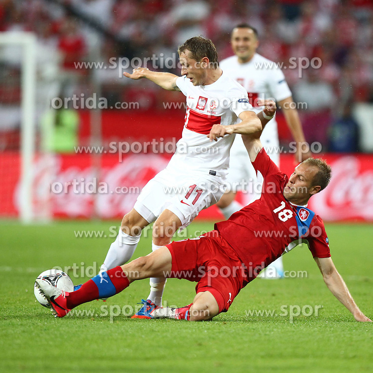 16.06.2012, Staedtisches Stadion, Breslau, POL, UEFA EURO 2012, Tschechien vs Polen, Gruppe A, im Bild RAFAL MURAWSKI (L), DANIEL KOLAR // during the UEFA Euro 2012 Group A Match between Czech Republic and Poland at the Municipal Stadium, Wroclaw, Poland on 2012/06/16. EXPA Pictures © 2012, PhotoCredit: EXPA/ Newspix/ Lukasz Grochala..***** ATTENTION - for AUT, SLO, CRO, SRB, SUI and SWE only *****