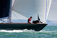 Oui Fling, skippered by Lord Laidlaw of Rothiemay competing in Cowes during the Panerai British Classic Sailing Week regatta. <br /> Picture date: Monday July 10, 2017.<br /> Photograph by Christopher Ison &copy;<br /> 07544044177<br /> chris@christopherison.com<br /> www.christopherison.com
