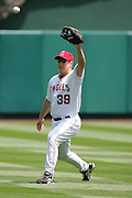 ANAHEIM, CA - APRIL 26:  Robb Quinlan #39 of the Los Angeles Angels of Anaheim warms up during the game against the Tampa Bay Devil Rays at Angel Stadium in Anaheim, California on April 26, 2007. The Angels defeated the Devil Rays 11-3. ©Paul Anthony Spinelli *** Local Caption *** Robb Quinlan
