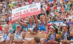 "22.07.2012, Klagenfurt, Strandbad, AUT, Beachvolleyball World Tour Grand Slam 2012, im Bild vlnr, Madelein Meppelink 1 NED / Sophie VAN GESTEL 2 NED, Ekaterina KHOMYAKOVA 1 RUS / Evgenia UKOLOVA 2 RUS, Talita De Rocha Antunes 2 BRA / Maria Elisa Antonelli 1 BRA// during the A1 Beachvolleyball Grand Slam 2012 at the ""Strandbad"" Klagenfurt, Austria on 2012/07/22. EXPA Pictures © 2012, EXPA Pictures © 2012, PhotoCredit: EXPA/ Mag. Gert Steinthaler"