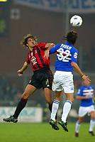 Genova 30-10-2004<br /> <br /> Campionato  Serie A Tim 2004-2005<br /> <br /> Sampdoria Milan<br /> <br /> nella  foto Hernan Crespo Milan and Nicola Pavan Sampdoria<br /> <br /> Foto Snapshot / Graffiti