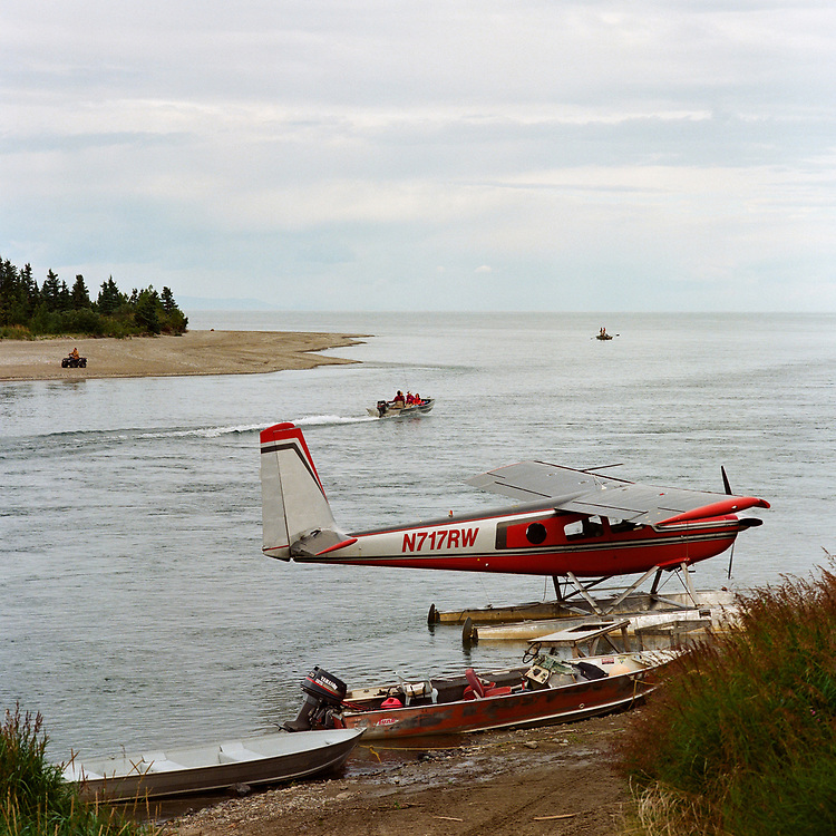 Igiugig, Alaska<br /> Aug. 12, 2017<br /> <br /> A float plane on the Kvichak River at Igiugig where the river flows out of Lake Iliamna, down toward Bristol Bay, about 50 miles from the Pebble Mine site.