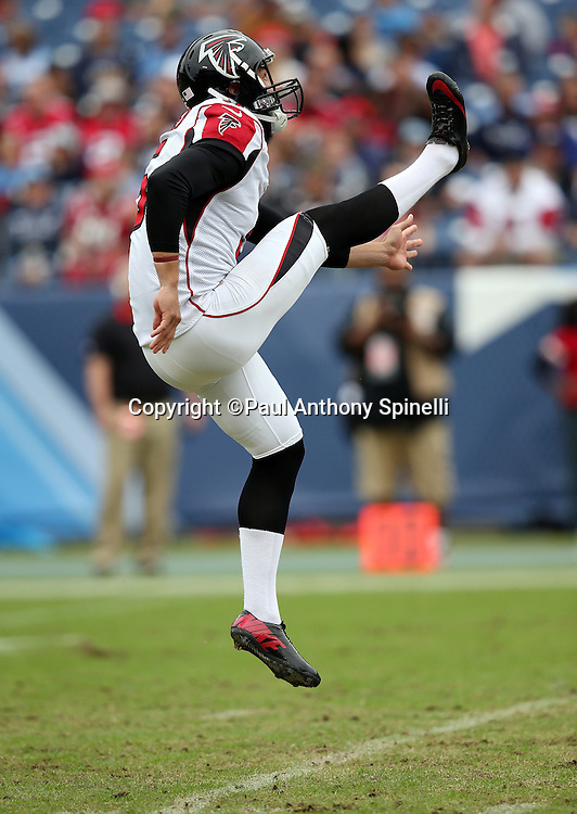 Atlanta Falcons punter Matt Bosher (5) gets some air punts during the 2015 week 7 regular season NFL football game against the Tennessee Titans on Sunday, Oct. 25, 2015 in Nashville, Tenn. The Falcons won the game 10-7. (©Paul Anthony Spinelli)