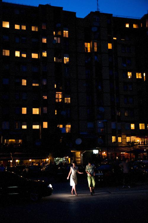 Night scene near Dardania neighborhood...Pristina, Kosovo, Serbia.