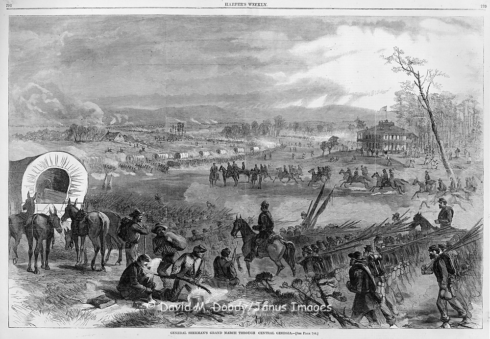 "Civil War: ""General Sherman's Grand March through Central Georgia"". Harper's Weekly 1864. Endless lines of wagons and troops with men at a cooking fire in foreground"