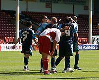 Photo: Steve Bond.<br />Walsall v Swansea City. Coca Cola League 1. 25/08/2007. Jason Scotland (9) is congratulated