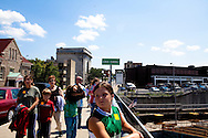 Tourists gaze at the Erie Canal in Lockport, NY, on Thursday, July 30, 2009.