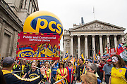 PCS at the People's Assembly Against Austerity 'End Austerity Now' demonstration attended by over 250,000 people on Saturday 20th of June 2015 sending a clear message to the Tory government; demanding an alternative to austerity and to policies that only benefit those at the top. London, UK.
