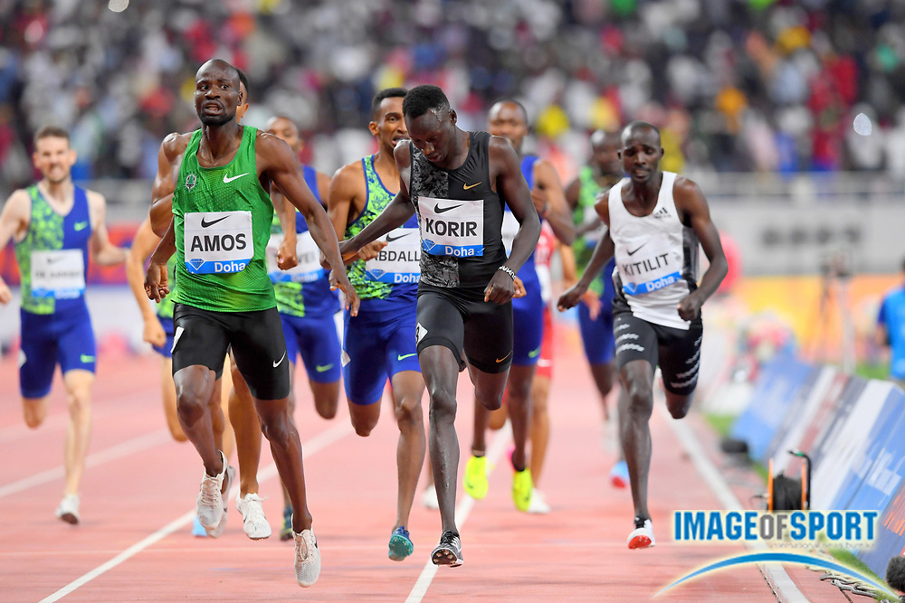 Nijel Amos (RSA) defeats Emmanuel Korir (KEN) to win the 800m, 1:44.29 to 1:44.50, during the IAAF Doha Diamond League 2019 at Khalifa International Stadium, Friday, May 3, 2019, in Doha, Qatar