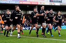 Exeter Chiefs warms up prior to kick off - Mandatory by-line: Ryan Hiscott/JMP - 29/12/2019 - RUGBY - Sandy Park - Exeter, England - Exeter Chiefs v Saracens - Gallagher Premiership Rugby